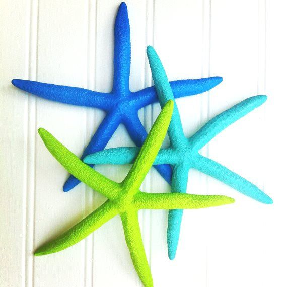 "Our newest set of 3 painted starfish in Island colors! Ocean blue, aqua turquoise blue, and lime green!  6-7"" $12!    Small holes can be tapped in the back to hang on the walls for unique décor.  Place on tables for beach island tropical style wedding birthday party décor.  Mermaid nursery décor.  Island beach cottage nautical vacation home décor.  Surf style, bright preppy, royal, mint, finger pencil starfish, shells, wall décor, table top, window bouquet ring bearer destination wedding"