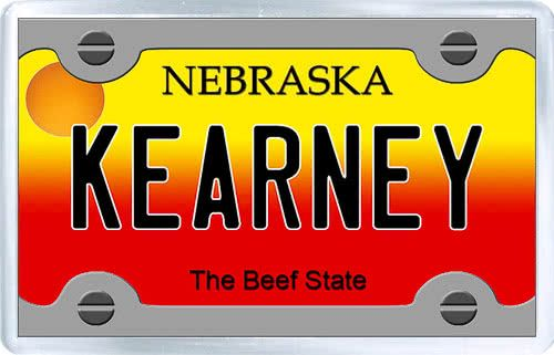 $3.29 - Acrylic Fridge Magnet: United States. License Plate of Kearney Nebraska