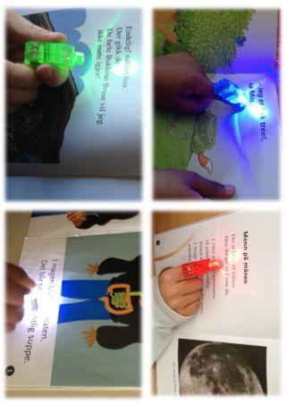 PY 2 - Uke 37; Den mest spennende nyheten til nå - leselys:)!! 2. klasse har fått prøve ut fingerlys til lesingen sin:) Et hjelpsomt verktøy for begynnerleseren og elever som ellers trenger å ha fokus på ordlesingen sin.