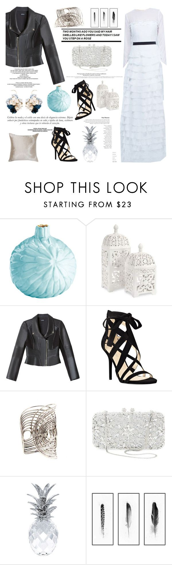 """""""Frozen Queen"""" by nellieatelier ❤ liked on Polyvore featuring Magenta, Imax Home, Bebe, Sinclair, Nine West, Natasha Couture, Behance, Swarovski and Kim Salmela"""