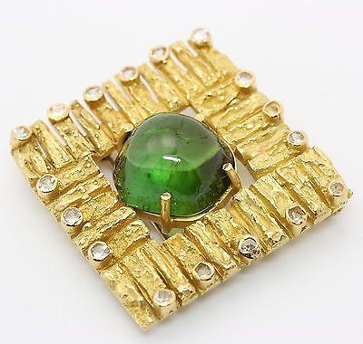 Designer Anhänger A. Frühauf Brosche in aus 18k Gelb Gold mit Turmalin Diamanten