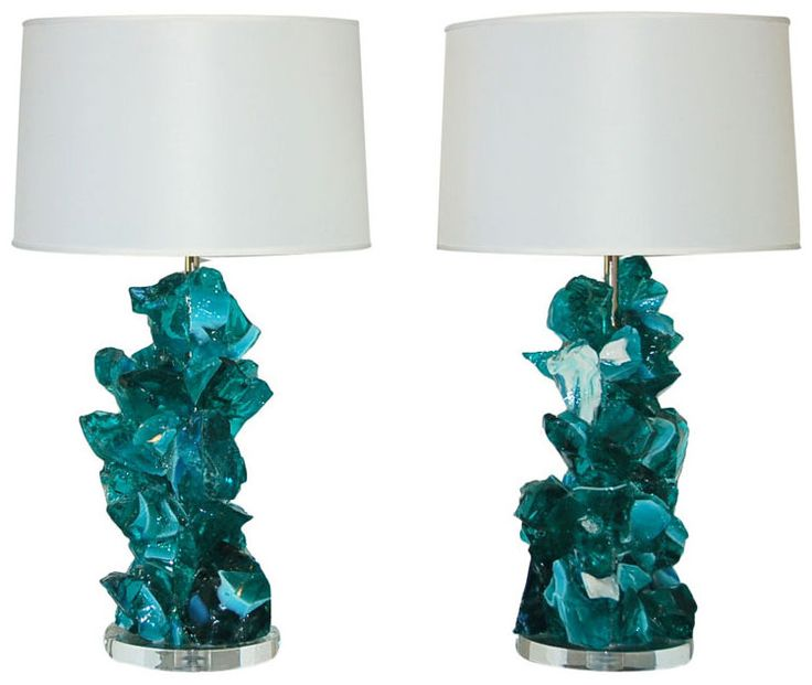 """Rock Candy"" lamps in ""Iced Teal"" by Swank Lighting...made of 100% recycled glass"
