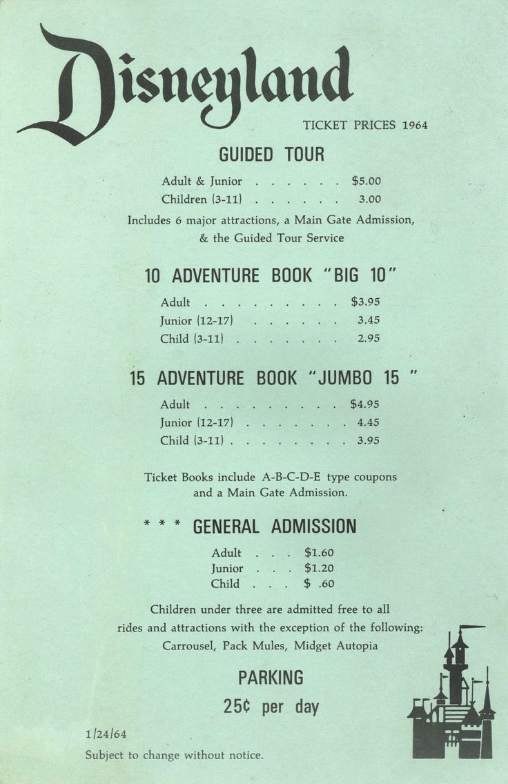 Disneyland ticket prices, 1964. Via Vintage Disneyland Tickets.