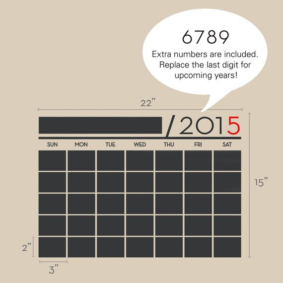 Chalkboard Wall Calendar 2015 Vinyl Wall Decals by SimpleShapes