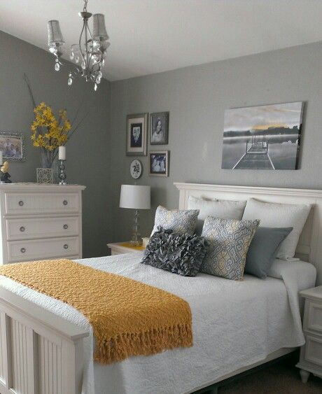Gray and yellow bedroom-just a hint of yellow, this is what I'm really going for