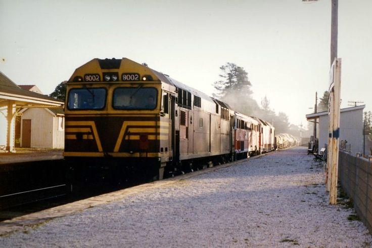 Bundanoon 8002-4448-8156 and 21 wagons on an up goods. 5.06pm. 10/9/90
