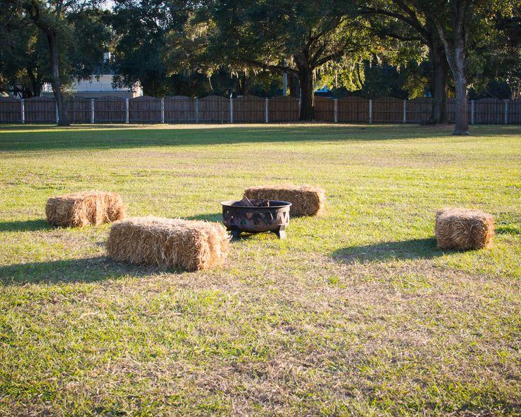 Hay Bales Seating for Marshmallow Roast at Casa Lantana Wedding Brandon, FL.