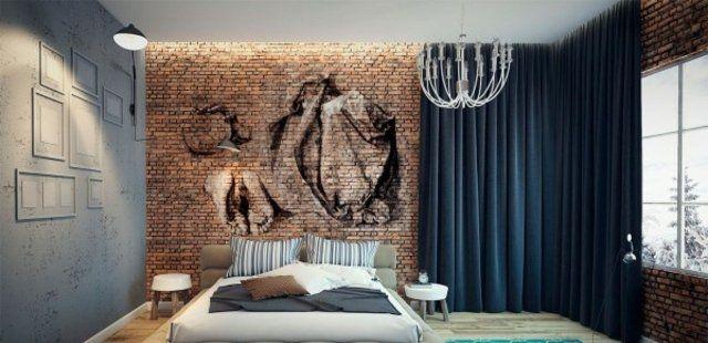décoration chambre à coucher revêtement en briques et tableaux