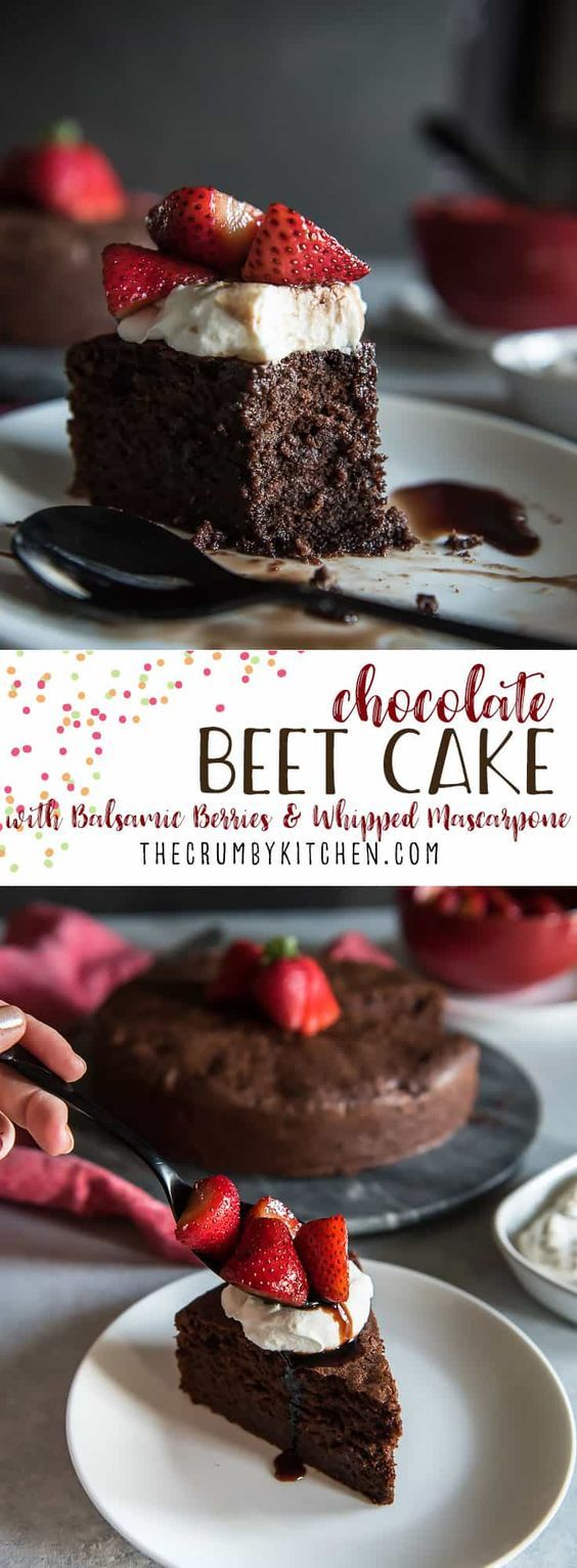 A dense, rich cake hiding a very subtle veggie secret: pairing this Chocolate Beet Cake with balsamic-macerated strawberries and whipped Mascarpone might just be the best dessert decision ever made. #chocolate #beet #cake #strawberry #whipped #mascarpone #holiday #dessert #christmas #thanksgiving #desserts #balsamic #spon #FabulousFallBounty