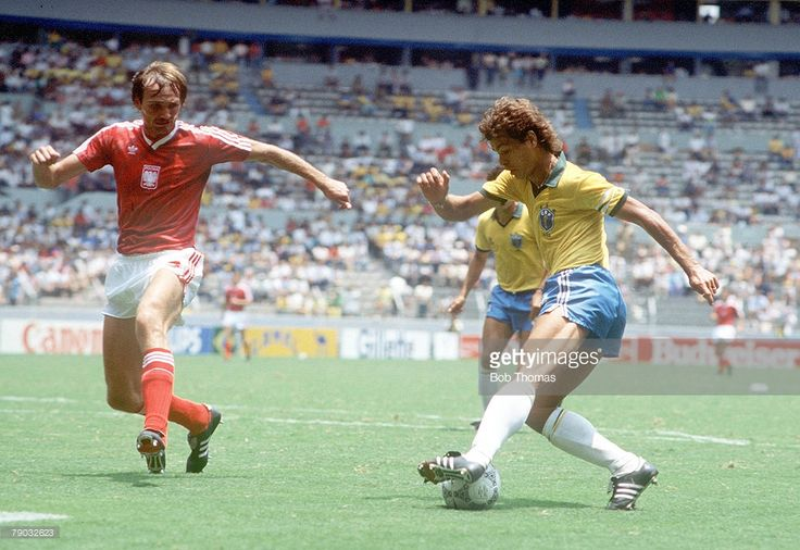 World Cup Finals, Second Phase, Guadalajara, Mexico, 16th June, 1986, Brazil 4 v Poland 0, Brazil's Edinho turns inside Poland's Roman Wojciki on his way to scoring the third goal
