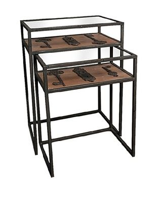 53% OFF Winward Set of 2 Maverick Iron Accent Tables with Keys, Black