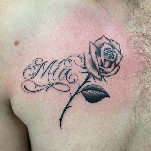 man chest name tattoo with rose erkek göğüs isim dövmesi