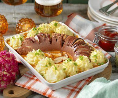 Gratinerad falukorv med potatismos