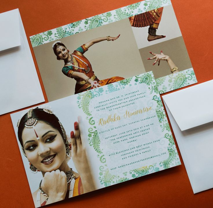 Fresh additions to our Arangetram Invitation collection! http://www.inksedge.com/product/arangetram-invitation-cards/Fresh-Paisley/