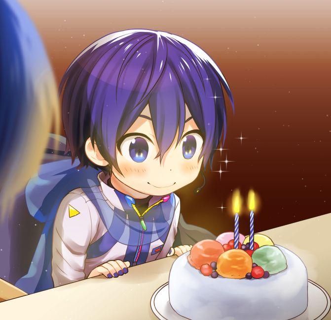 Tags: Anime, kikuchi (kkc), Vocaloid, KAITO, Birthday, Cake, Candle