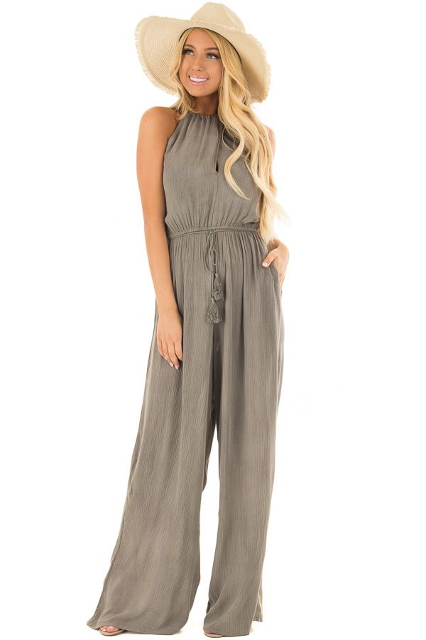 1800344fb072 Lime Lush Boutique - Stormy Grey Halter Jumpsuit with Waist Tie ...