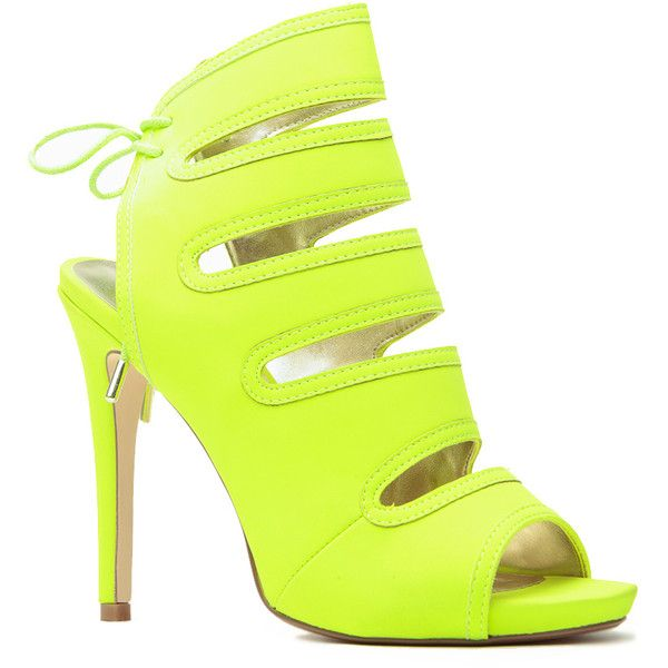 CiCiHot Neon Lime Lights Tie Up Peep Toe Heels (815 MXN) ❤ liked on Polyvore featuring shoes, pumps, heels, shoes heels, neon heels pumps, cutout pumps, cut out pumps, cut out shoes and neon pumps