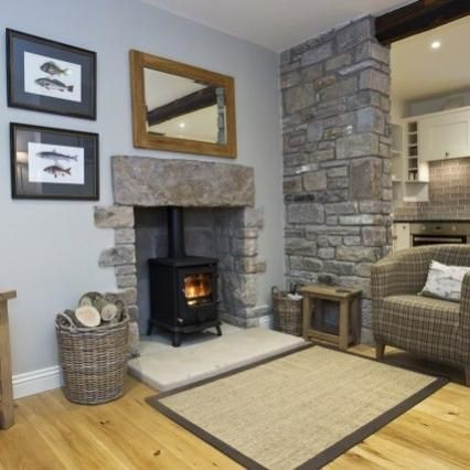 Relax by the cosy wood-burning stove - Waterside Cottage Aysgarth, Wensleydale