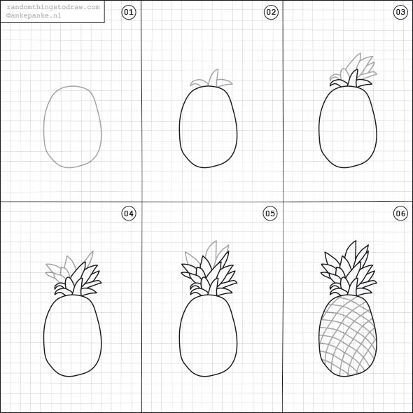 How to draw a pineapple.