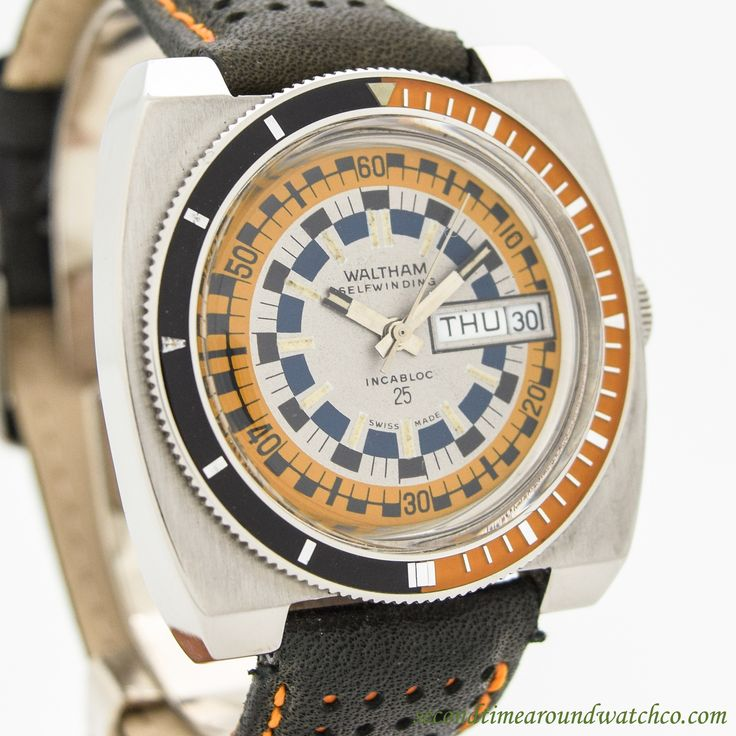 1970's Waltham Diver Day-Date Ref. B-383 Stainless Steel