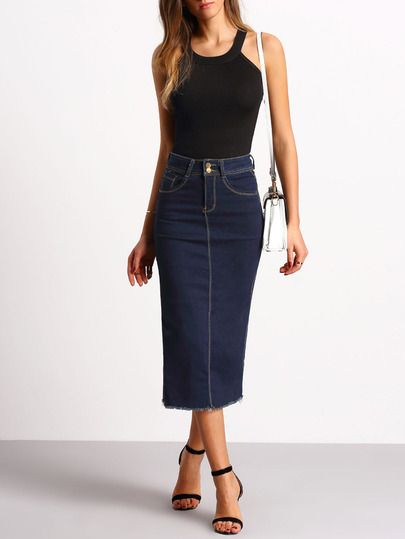 Navy Split Back Slim Denim Skirt -SheIn(Sheinside)
