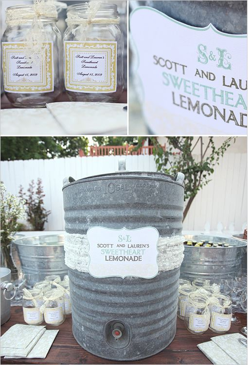 down home country chic than homemade lemonade served in mason jars decorated with strips of pretty fabric!