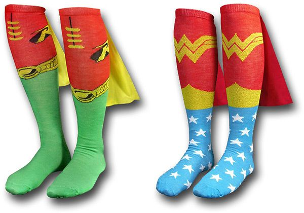 love these superhero socks, complete with cape!