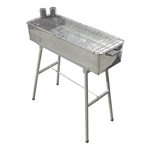 """Party Griller 32\"""" x 11\"""" Stainless Steel Charcoal Barbecue Grill w/ 2x Stainless Steel Mesh Grate - Portable BBQ Kebab, Satay, Yakitori Grill. Makes Juicy Shish Kebob, Shashlik, Spiedini on the Skewer ** Click image for more details."""