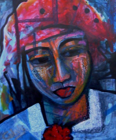 Paintings - WOMAN WITH A LADYBIRD HAT - AN ORIGINAL PAINTING BY CELESTE FOURIE-WIID for sale in Hermanus (ID:278986681)