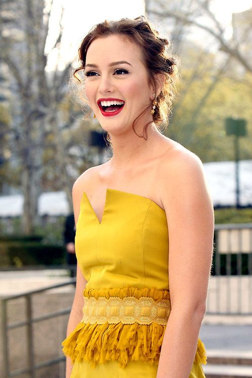 Leighton Meester - her gorgeous yellow dress is complemented beautifully with her cherry lipstick