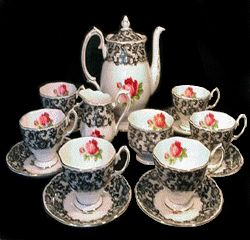 I have a soft spot for old tea/coffee sets. This is the 1950's Royal Albert Bone China in the Senorita pattern.LOOOOVE!!! www.royalalbertpatterns.com