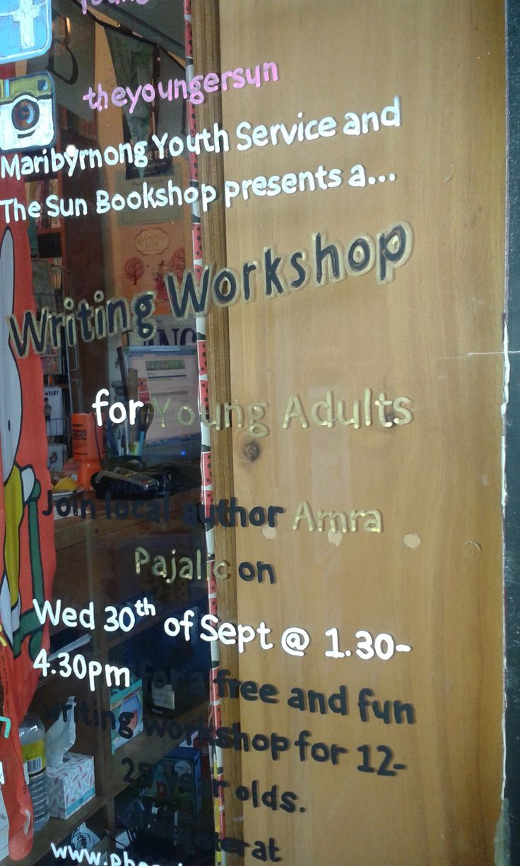 Writing workshop at Yarraville Sun Theatre for holiday program organised by Sun Bookshop and Maribyrnong City Council's Youth Services, Wednesday 30 September 2015