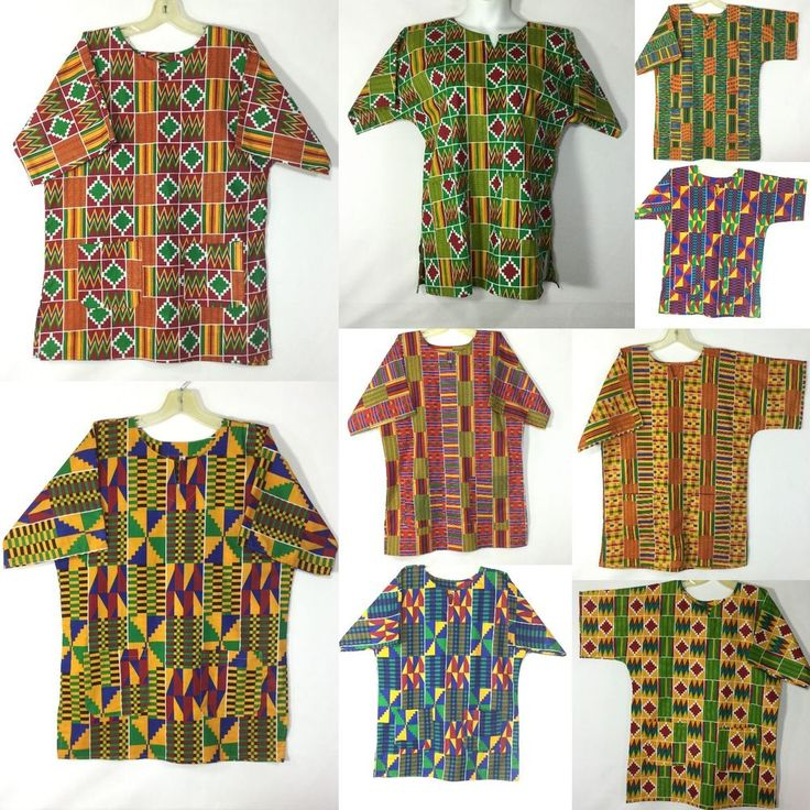 KENTE Dashiki Boho Tribal Shirt African Vintage Hippie Blouse Women Blouse S M L…