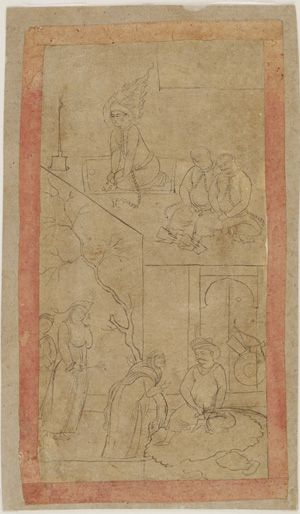 Yusuf in prison and Zuleikha as an old woman before Yusuf mid-17th century Safavid period  Ink on paper H: 19.8 W: 10.4 cm  Iran  Purchase F1953.37