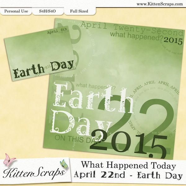 Paper created for today,Earth Day, April 22nd, 2015, by KittenScraps. Digital Scrapbooking Freebie