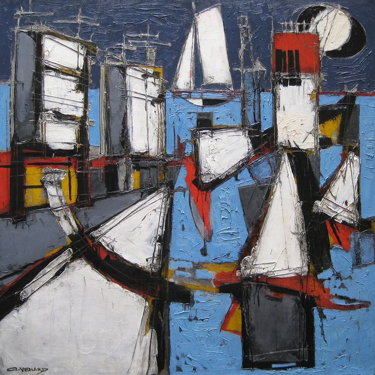 'Le Quai' by Claude Venard, oil on canvas, 100 x 100 cm, signed.