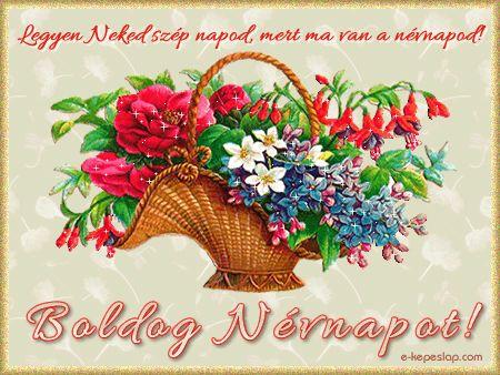 Névnapi képeslap: Virágcsokor kosárban