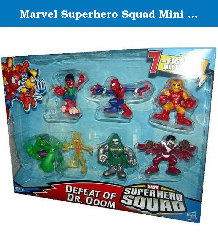 Marvel Superhero Squad Mini Figure 7Pack Defeat of Dr. Doom Volcana, Reptil, Falcon, SpiderMan, Hulk, Iron Man, Dr. Doom. Finally, someone got Marvels heroes to smile! Fun for all ages, the Marvel Superhero Squad brings colorful, bright, and we dare say cute super heroes to comic fans the world over. Each figure has limited articulation and authentic costumes, but is specially designed for the younger hands. Brand New!.