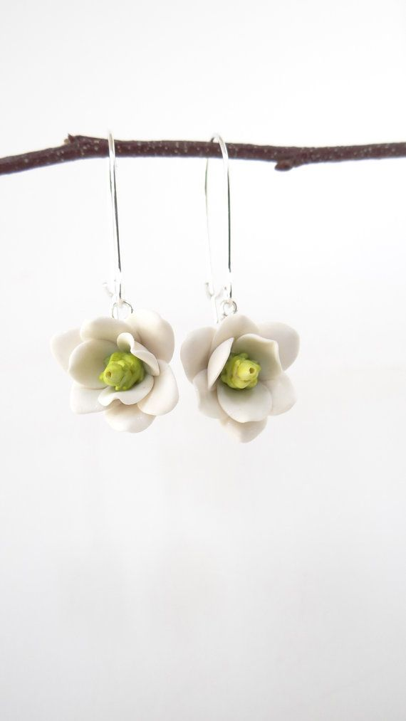 Hand Sculpted Southern Magnolia Earrings for Spring/Summer Jewelry or Shouthern Wedding Theme Jewelry.