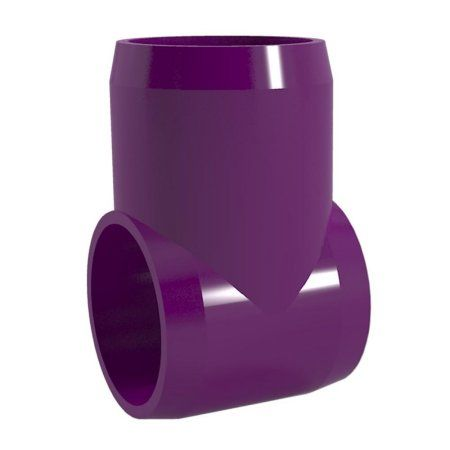 PVC Pipeworks 1/2 inch Slip Tee PVC Furniture Grade Fitting in Purple - Hinge Joint (4-Pack)