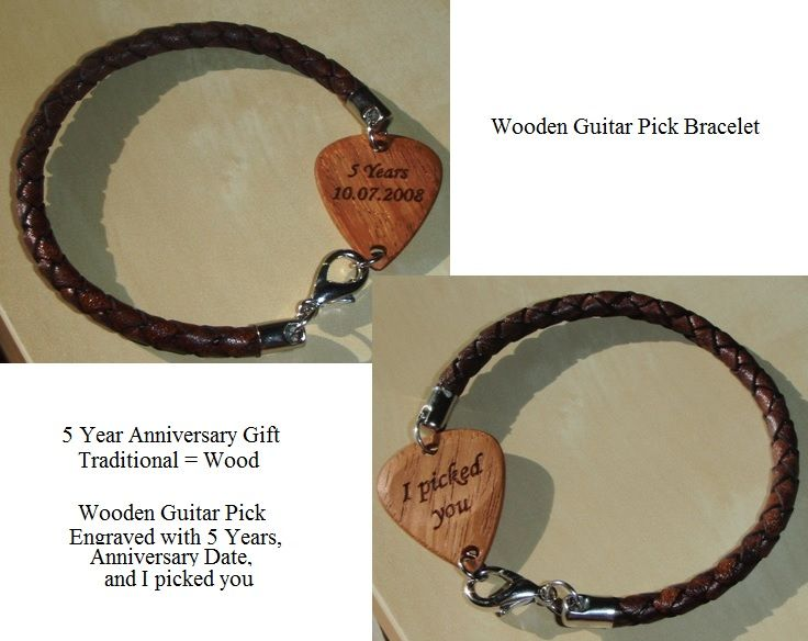 Wooden guitar pick bracelet, Anniversary Gift, Traditional Gift 5 Years Wood