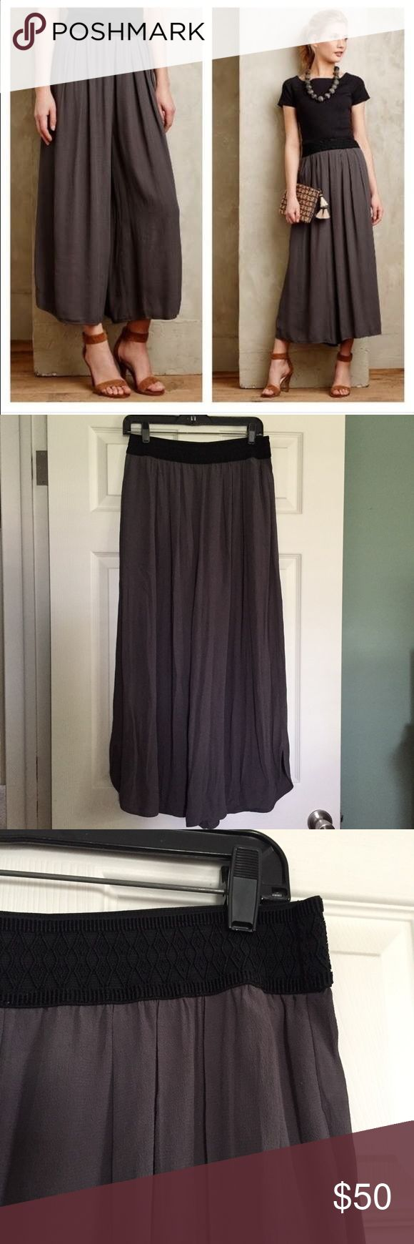 Elevenses Skirted Tulip Wide-Legs Woven viscose-rayon. Cropped wide-leg silhouette. Tulip hem detail. Side pockets. Pull-on styling. Size small. EUC. Retail: $108 Anthropologie Pants Wide Leg