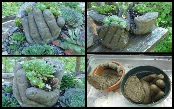 Does your garden need something eye catching? Then you should make these DIY hand planters!  Get the link to the tutorial now!