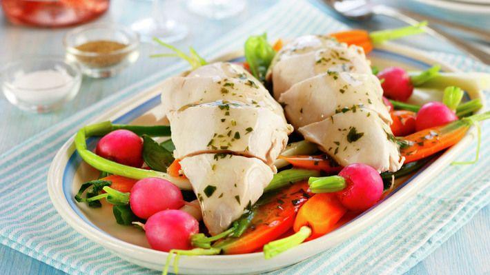 Posjert kyllingfilet med sprø sommergrønnsaker og urtesaus - Kos - Oppskrifter - MatPrat