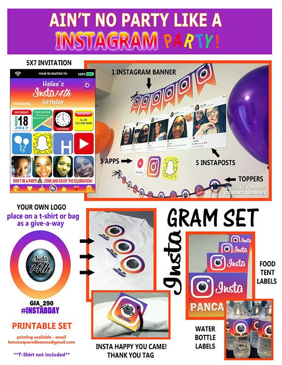 Instagram Theme Party Set  Printable Files and Printing