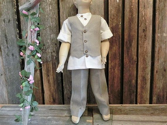 Rustic ring bearer outfit.Boys linen suit. by englaCharlottaShop