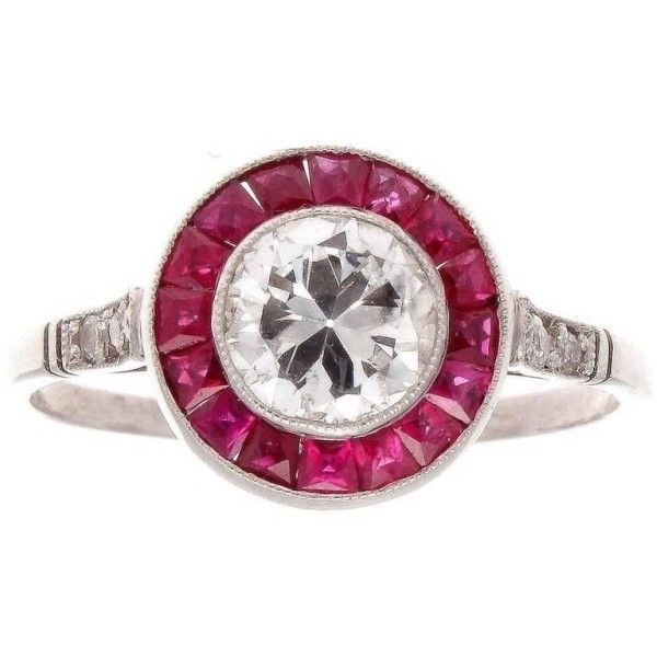 Pre-owned Platinum Diamond & Ruby Engagement Ring Size 6.5 (83,650 EGP) ❤ liked on Polyvore featuring jewelry, rings, ruby engagement rings, ruby ring, pre owned engagement rings, platinum rings and platinum engagement rings