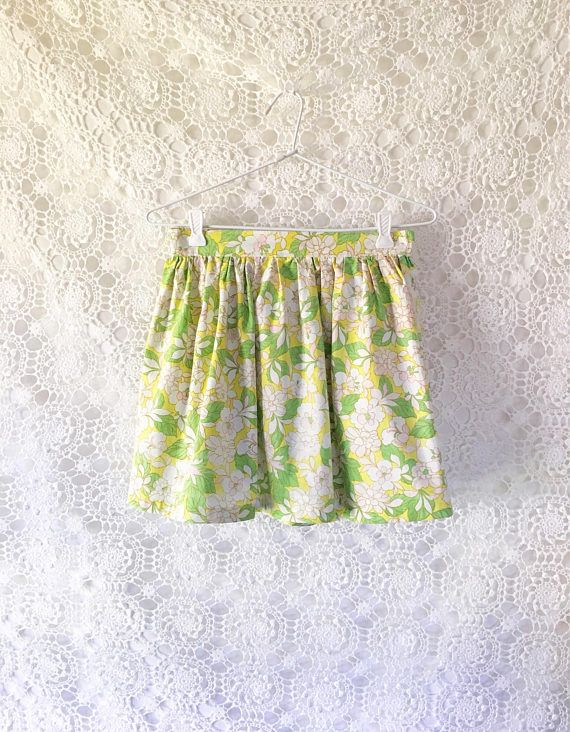 Vintage floral girls skirt cotton skirt girls party skirt