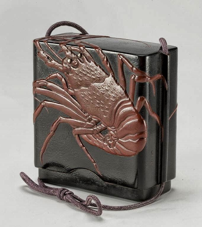 leftover food container (zansai-ire) with spiny lobster and seashells 柴田是真作 海老蒔絵残菜入. Shibata Zeshin (Japanese, 1807-1891). Lacquered wood.