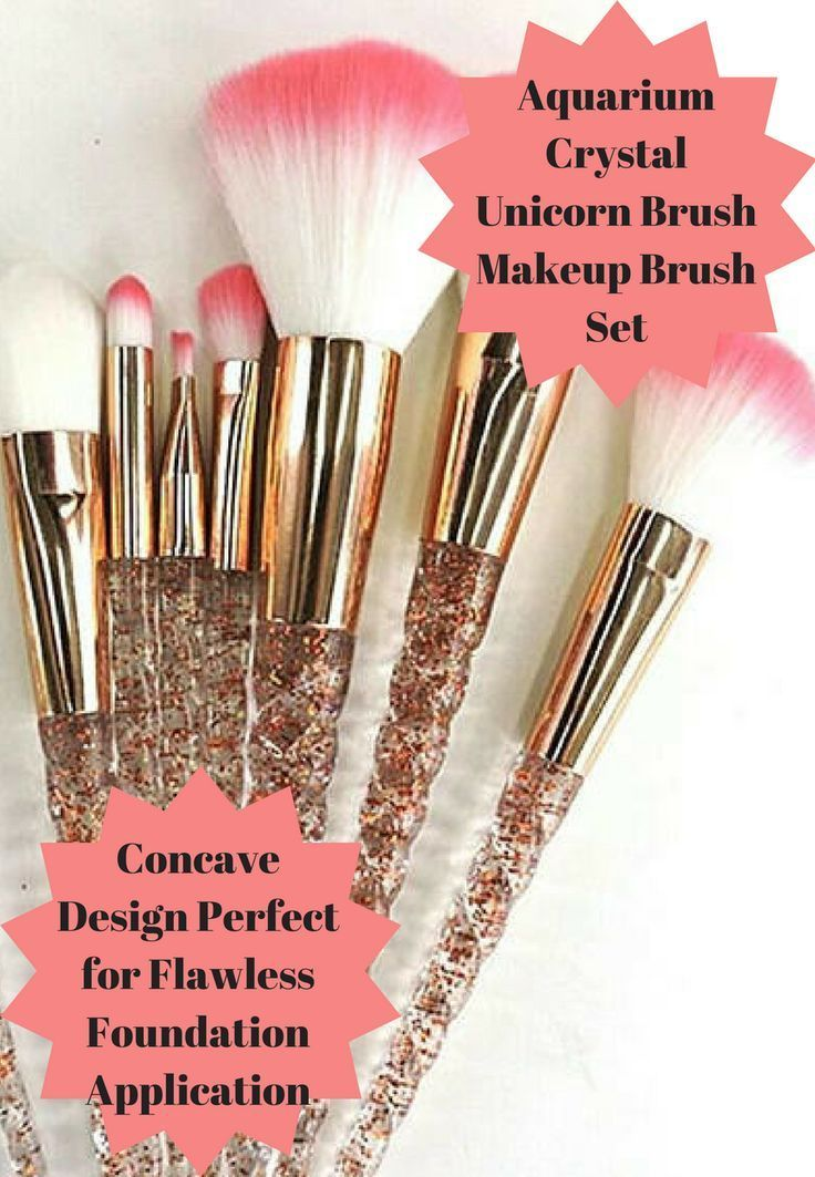 This Aquarium Crystal Unicorn Brush Makeup Brush Set gives you a flawless foundation application every single time. No streaks and no areas with too much makeup or too little #ad #makeup #beauty #crystal #unicorn #brushes